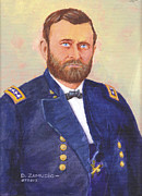 Gold Buttons Posters - Portrait of General Ulysses S. Grant Poster by David Zamudio