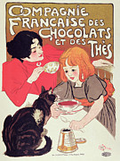 Food And Beverages Prints - Poster Advertising the Compagnie Francaise des Chocolats et des Thes Print by Theophile Alexandre Steinlen