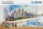 Dubai Framed Prints - Poster Dubai Expo - 5 Framed Print by Corporate Art Task Force