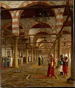 Gerome Painting Framed Prints - Prayer in the Mosque Framed Print by Jean-Leon Gerome