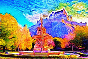 Princes Digital Art Prints - Princes Street Gardens Edinburgh Print by Stevie Mach