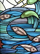 Waves Glass Art - Protection Island Seascape by Gilroy Stained Glass