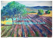 Monet Drawings Prints - Provence lavender field Print by Eric  Schiabor