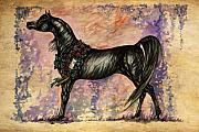 Wild Horse Drawings Posters - Psychodelic Black And Blue Poster by Angel  Tarantella