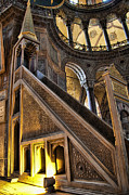 Ottoman Metal Prints - Pulpit in the Aya Sofia Museum in Istanbul  Metal Print by David Smith