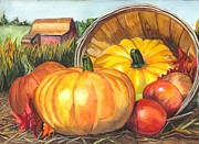 Corn Drawings Prints - Pumpkin Pickin Print by Carol Wisniewski