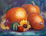 Pumpkins Paintings - Pumpkins and Flowers by Carolyn Jarvis