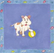 Puppies Painting Originals - Puppys Ball by Maria Rodrigues
