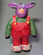 Cartoon Ceramics - Purple Cow by Jeanette K
