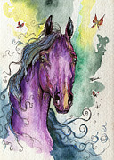 Rainbow Drawings Prints - Purple horse Print by Angel  Tarantella