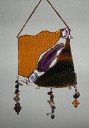 Catcher Glass Art - Purple by Nora Solomon