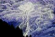 Lightning Wall Art Painting Prints - Purple Passion Print by Sherry Allen