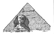 4th Drawings Prints - Pyramid and Sphinx Print by Calvin Durham