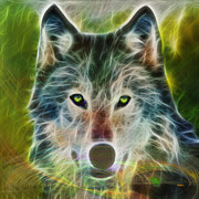 Wolf Digital Art Metal Prints - Quiet Majesty - Square Fractalized Version Metal Print by John Robert Beck