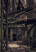 Mills Framed Prints - Quieted Steel Mill Framed Print by Daniel Hagerman