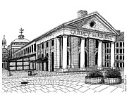Boston Ma Drawings Prints - Quincy Market Print by Conor Plunkett
