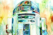 Illustration Framed Prints - R2-d2 Watercolor Portrait Framed Print by Fabrizio Cassetta