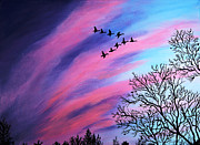 Streaks Originals - Raging Sky and Canada Geese by Barbara Griffin