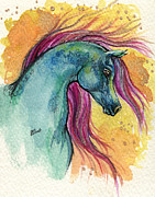 Drawing Painting Originals - Rainbow Fairytale Horse by Angel  Tarantella