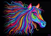 Horse Head Digital Art - Rainbow Horse Too by Nick Gustafson