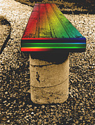 Rainbow Park Bench Print by ImagesAsArt Photos And Graphics