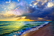Sun Rays Pyrography Metal Prints - Rainbow Seascape Metal Print by Eszra Tanner