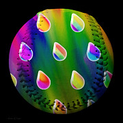 Baseball Digital Art Metal Prints - Rainbow Showers Baseball Square Metal Print by Andee Photography