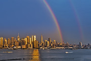 Double Rainbow Posters - Rainbows Over the New York City Skyline Poster by Susan Candelario
