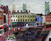 Memorial Day Pastels - Rainy Day on Market Square by Francois Lamothe