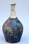 Blue Ceramics - Raku Bottle 75 by Chip VanderWier