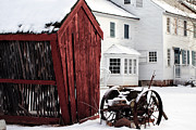 Red Barn Prints Posters - Red Barn in Winter Poster by John Rizzuto
