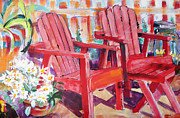 Suzanne Willis Metal Prints - Red Chairs Metal Print by Suzanne Willis