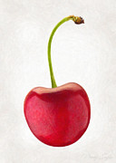 Single Object Painting Posters - Red Cherry  Poster by Danny Smythe