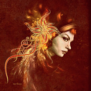 Allure Digital Art Prints - Red Headed Woman Abstract Realism Print by Zeana Romanovna