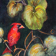 Cardinal Drawings Prints - Red is for Cardinal Print by Ruth Bodycott