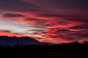 Black Clouds Prints - Red Lenticualr Sunset Print by Cat Connor