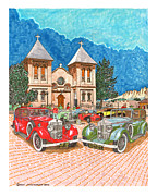 British Classic Cars Posters - Red or Green what a question what a choice Poster by Jack Pumphrey