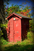 Rural Living Posters - Red Outhouse Poster by Paul Ward