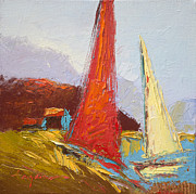 Yellow Sailboats Originals - Red Sails by Dorothy Fagan