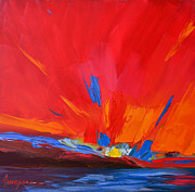 Beautiful Scenery Painting Posters - Red Sunset Abstract  Poster by Patricia Awapara