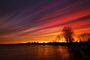 Time Stack Prints - Red Swoosh Print by Matt Molloy