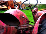 Carter House Prints - Red Tractor Rural Photography Print by Stephan Chagnon Laura  Carter
