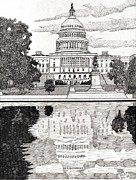 Washington Dc Drawings - Reflecting Pool by Calvert Koerber