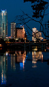 Austin At Night Prints - Reflections of Austin Skyline in Lady Bird Lake at night 02 Print by Jeff Kauffman