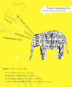 Typography Map Digital Art - Responsible Tourism Elephant Typography Poster by Nola Lee Kelsey