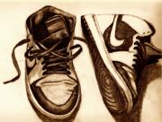 Shoes Drawings Prints - Retro 1 Print by Dallas Roquemore