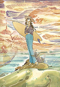 Surfing Art Paintings - Retro Surfer by Harry Holiday