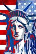Flag Of Usa Posters - Reversing Liberty 3 Poster by Angelina Vick