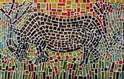 Art Glass Mosaic Glass Art Posters - Rhino Mosaic Poster by Caroline Street