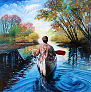 Canoe Painting Posters - River of Dreams Poster by John Lautermilch